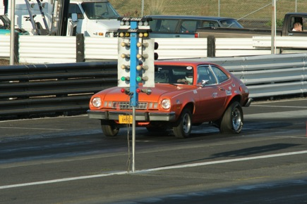 """The Crazyhorse Pinto's crazy torque caused the tires to deform and fold over- sort of """"flap"""". I understand this often happens on high-torque drag cars, but with the quiet electric drivetrain that """"flapping"""" was the loudest sound you could hear as it went down the strip."""