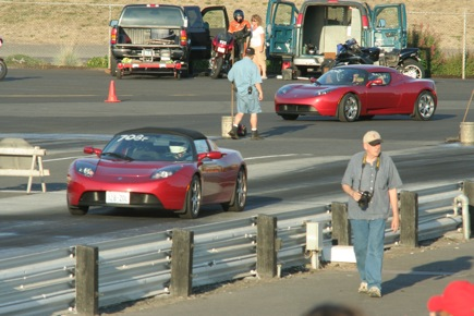 Tesla Roadster drag racing is not all that interesting- very consistant, quick for a street car, very quite. The sound of a couple roadsters flying by at 100+ mph at the finish line is pretty neat though.