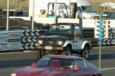 This converted Samurai NEV was very slow. I think it hit 38 or so MPH, 1/4 mile in 50+ sec. They only raced it once though so it was OK